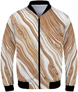 Marble Men's Windproof Jacket,Trippy Fluid Mixed Color Motif with Watercolor Paintbrush Featured Art Print for Outdoor,XS