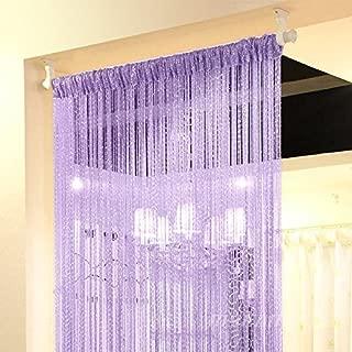 Eyotool 1x2M Door String Curtain Rare Flat Silver Ribbon Thread Fringe Window Panel Room Divider Cute Strip Tassel for Wedding Coffee House Restaurant Parts, Purple