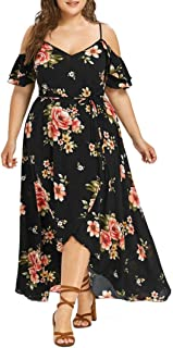 Women Plus Size Casual Short Sleeve Off Shoulder Boho Slit Flowy Maxi Long Dress