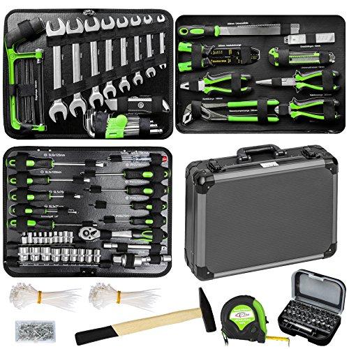TecTake 500 teiliger Werkzeugkoffer mit 4 Fächern mit Werkzeug gefüllt, robuster Tragekoffer - Aluminium verstärkt