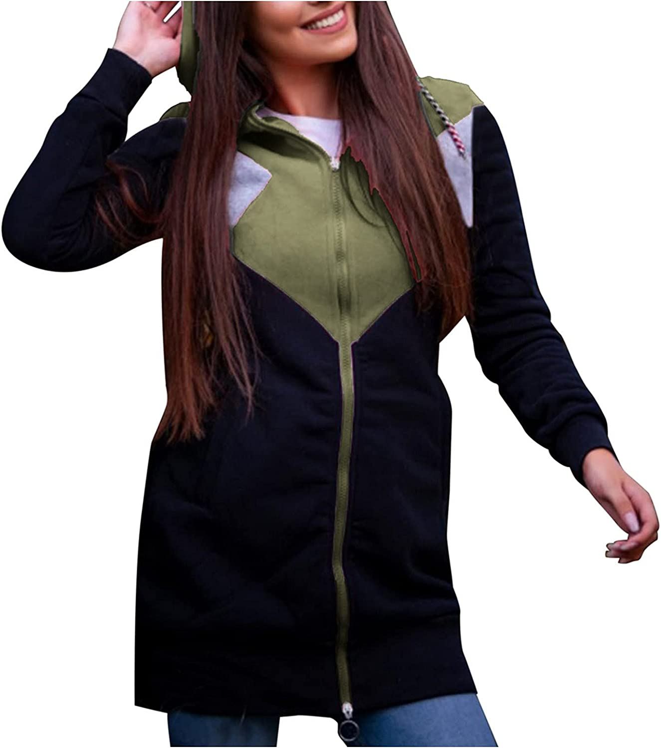 Women's Quilted Lightweight Jackets,Long Sleeve Fleece Open Front Hooded Cardigans Coats Fuzzy Outwear with Pocket