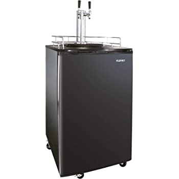 KUPPET Beer Kegerator - Full Size Stainless Steel Kegerator, Draft Beer Dispenser - Keg Beer Cooler, Compressor Cooling CO2 Regulator Casters, Dual Tap, 6.0 Cu.ft. (Black)