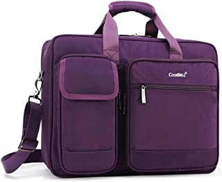 CoolBELL 15.6 Inch Laptop Briefcase Protective Messenger Bag Nylon Shoulder Bag Multi-Functional Hand Bag for Laptop/Ultrabook / Tablet/MacBook / Dell/HP / Men/Women/Business (Purple)