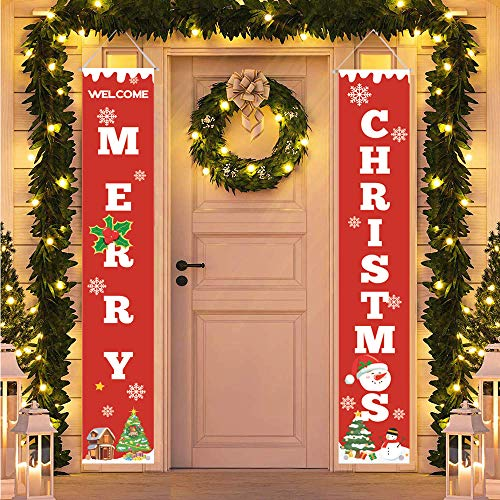 HMASYO Merry Christmas BannerChristmas Porch Fireplace Wall Signs Flag for Christmas Decorations Outdoor IndoorChristmas Banner Decoration Red Xmas Sign for Home Party Merry Christmas