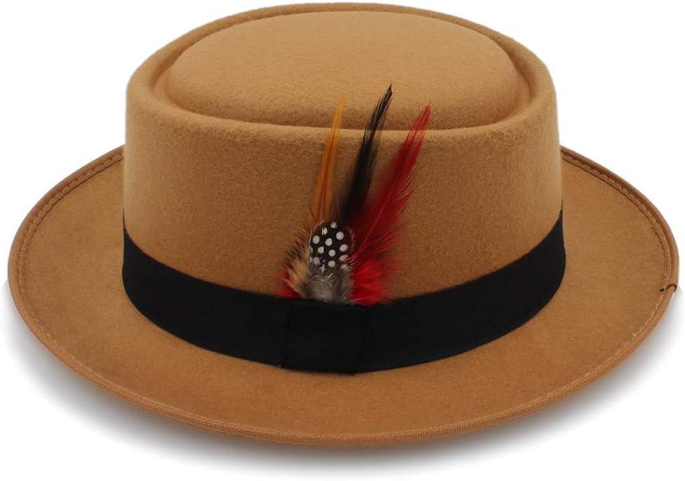 ZLQQLZ Women Cap Retro Unisex Wide Brim Round Top Cap Fedora Porkpie Pork Pie Bowler Hat Leather Band Top Hats Hat (Color : Khaki, Size : 56-58CM)