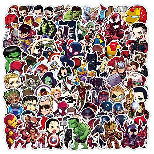 100 Stück Sticker Set - Superheld Spiderman Batman Ironman Hulk, NAVK Aufkleber Deko für Auto Laptop Skateboard Fahrrad Moped Motorrad, Geeignet für Erwachsene Kinder