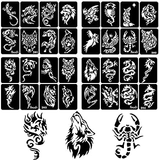 30 Sheet DIY Airbrush Tattoo Stencils for Men, Dragon Skull Wolf Eagle Glitter Templates for Body Painting