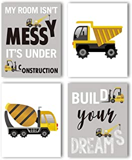 """HPNIUB Construction Trucks Picture Cartoon Construction Transport Vehicle Art Print Set of 4 (10""""X8""""Canvas Funny&Inspirational Words Poster Painting for Nursery or Kids Boy Room Home Decor,No Frame"""
