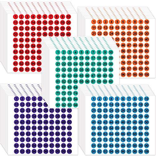 50 Fogli Adesivi con Numeri Consecutivi in Vinile da 1 a 100 Etichette Rotonde Piccole Adesivi per Organizzazione dell'Inventario/ Deposito per Scatole, Cassetta, Armadietto (Vari Colori)