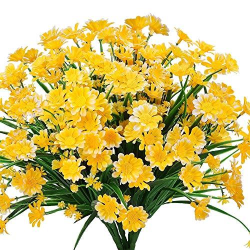 Ksnnrsng Künstliche Gänseblümchen Blumen,4 Stück Kunstblumen Grün Plastik Sträucher Unechte Blumen Innen Draussen Kunstblumen für Zuhause Garten Fenster Box Hängend Pflanzen Dekor (Gelb)