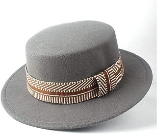 2019 Mens Womens Hats Unisex Men Women Flat Top Pop Church Soft Autumn Winter Flat Top Hat Winter Wide Brim Hat Friend Party Hat Trilby Fedora Hat (Color : Gray, Size : 56-58)