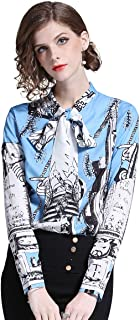 Women's Floral Print Tie Neck Long Sleeve Button up Casual Shirt Blouse