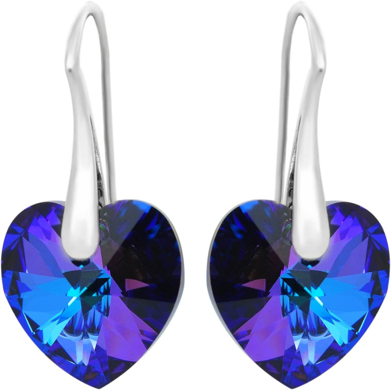 Sterling Super sale Silver 925 Earrings ROYAL unisex CRYSTALS Hea Blue Purple Love