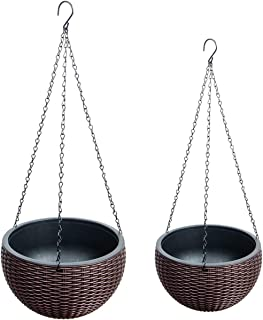 Foraineam 2-Pack Dual-pots Design Hanging Basket Planters Self-Watering Indoor Outdoor Plant & Flower Hanging Pots with Drainer and Chain, 2 Size Assorted