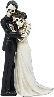 Ebros Love Never Dies Couple Wedding Bride And Groom Skeleton Embracing Cake Topper Figurine 6.25