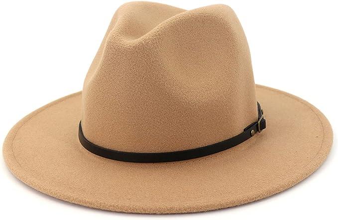 Hippie Hats,  70s Hats Lisianthus Women Wide Brim Wool Fedora Panama Hat with Belt Buckle  AT vintagedancer.com