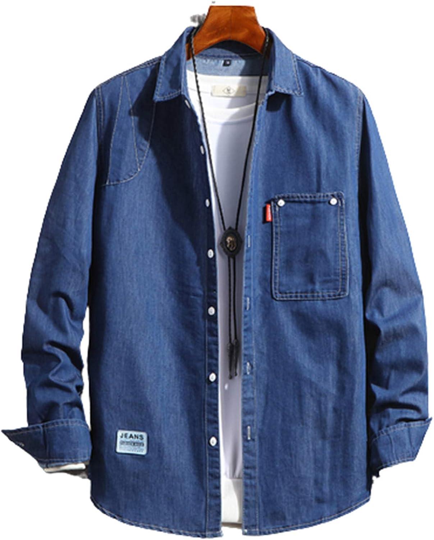 KEAIMEI Men's Slim Fit Casual Denim Shirt, Long Sleeve Basic Shirt Jacket for Hiking Fishing Climbing