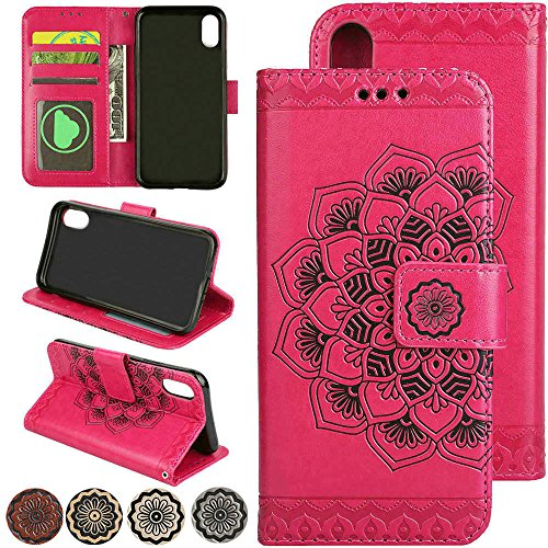 LOVEMILY Folio iPhone SE 2020 Fold Wallet Case, 3D Flower Magnetic Closure Leather Flip Book Case for iPhone 7 8 SE2 with Hidden Card Pocket and Kickstand Cover (Red)