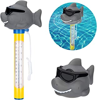 Kyrieval Swimming Pool Float Thermometer Cartoon Type,spa Pool,Bath Water,Hot Tubs, Aquariums,Fish Ponds,Baby Pool Thermometer,Fahrenheit and Celsius(Duck/Crocodile/Shark (Shark)