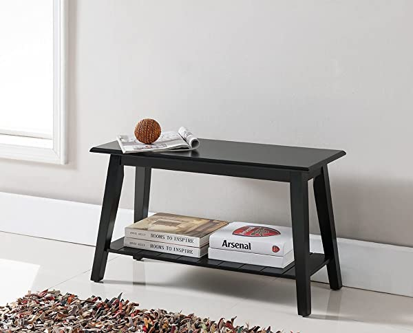 Kings Brand Black Finish Wood Bench With Storage Shelf