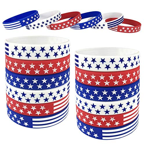 TONIFUL 18 Pcs American Flag Silicone Bracelet, USA Silicone Bracelets Wristbands, American Flag Red White and Blue Bracelet for Kids, Teens, Adults Sports