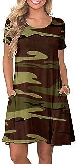 WNEEDU Women's Casual T Shirt Dresses Long Sleeve Swing Dress Pockets