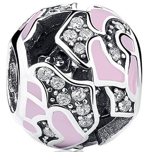 SaySure - 925 Sterling Silver Delicate Rose Charm Bead Pink Enamel