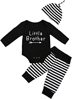 Little Brother New Crew Clothing Set Newborn Toddler Baby Boy Long Sleeve Romper Tops Stripe Pants and Hat