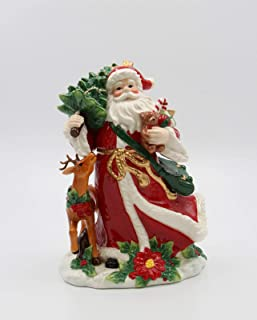 Fine Ceramic Christmas Santa Claus with Reindeer Holding Christmas Tree and Toy Teddy Bear Figurine, 10-1/4