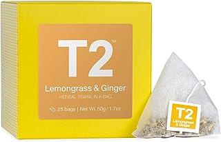 T2 Tea Lemongrass and Ginger Herbal Tea Bags in Box, 25-Count