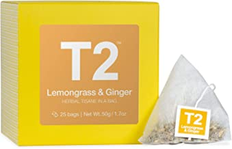 T2 Tea Lemongrass and Ginger Herbal Tea Bags in Box, 25-Count