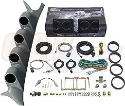 GlowShift Diesel Gauge Package for 1999-2007 Ford Super Duty F-250 F-350 Power Stroke - Tinted 7 Color 60 PSI Boost, 1500 F EGT, Transmission Temp & 100 PSI Fuel Pressure Gauges - Gray Quad Pillar Pod
