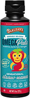 Barlean's Seriously Delicious Omega Pals Flax Oil Sensational Straw-Nana, 8 Ounce