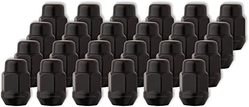 DPAccessories LCB3C1HE2BK04024 24 Black 7/16-20 Closed End Bulge Acorn Lug Nuts - Cone Seat - 13/16