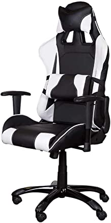 Gumi 09854 Gaming Chair – High Back Pc Gaming Chair With Caster Wheels, Thick Padding, Nylon Base – Adjustable Gaming Chair - Black/White - 50 X 45 X 138cm