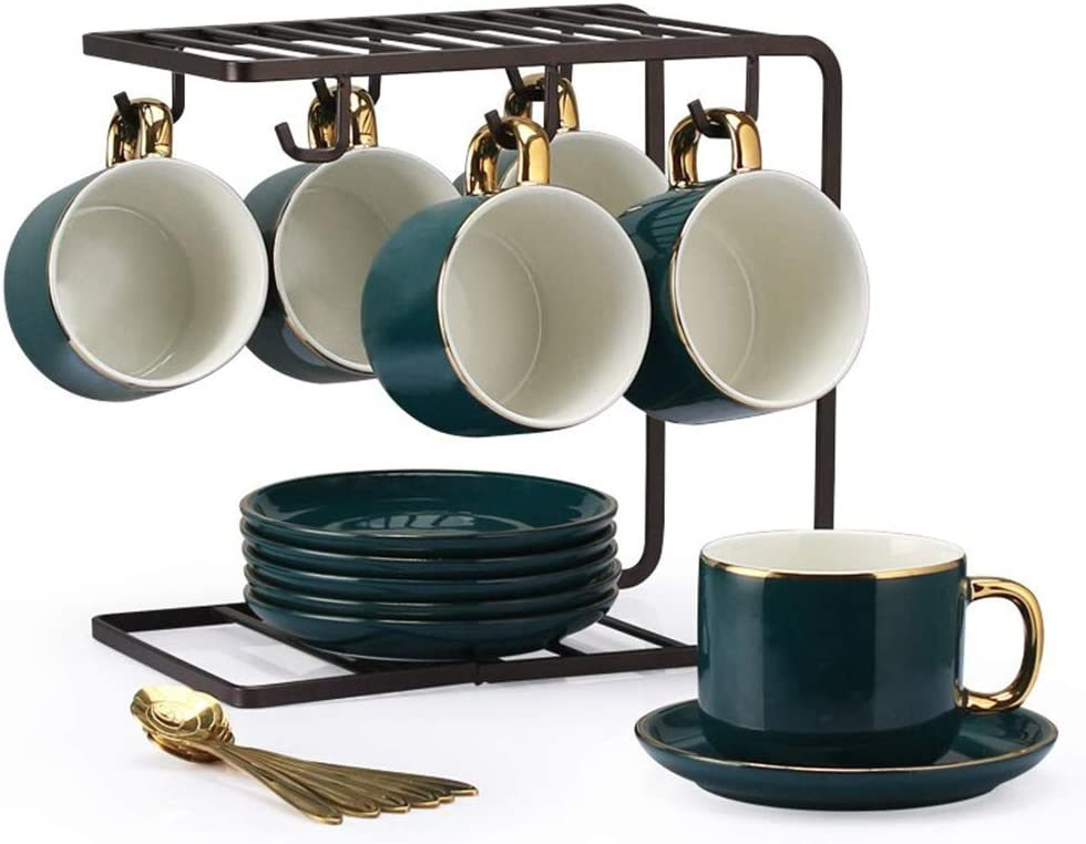 XLNB Modern New products, world's highest quality popular! Cup Saucer Set Tea Arlington Mall Green Porcelain Coffee