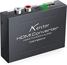 1080P HDMI Audio Extractor,Aerctor HDMI to HDMI + Optical Toslink(SPDIF) + RCA(L/R) Stereo Analog Outputs Video Audio Splitter Converter,Black
