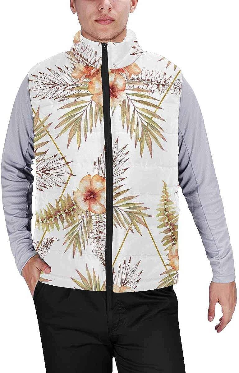 InterestPrint Winter Lightweight Personality Design Padded Vest for Men Hello Winter Sheep