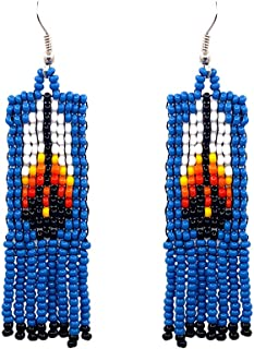 Handmade Native American Style Tribal Seed Bead Feather Pattern Fringe Dangle Earrings