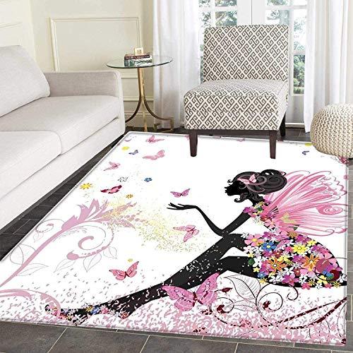 VORMOR Mädchen-Teppich, Kosmetik und Make-up-Thema, Muster mit Parfüm, Lippenstift, Nagellack, Bürste, modern, für drinnen und draußen, Mehrfarbig, Color04, 3'x5'(W 90cm x L 150cm)