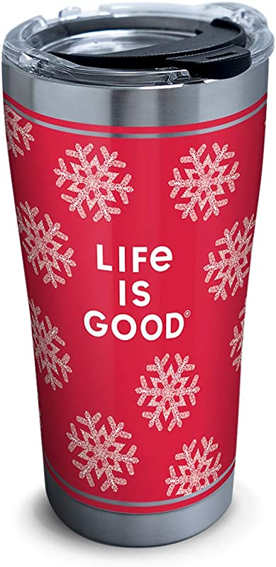 Tervis 1307427 Life Is Good Red Snowflake Stainless Steel Insulated Tumbler With Clear And Black Hammer Lid 20oz Silver