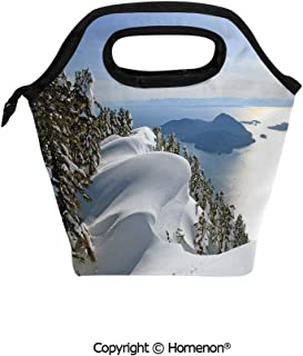 Insulated Neoprene Soft Lunch Bag Tote Handbag lunchbox,3d prited with Pacific Ocean Meets the Mountains Vancouver British Columbia Canada Wilderness Scenery,For School work Office Kids Lunch Box & F