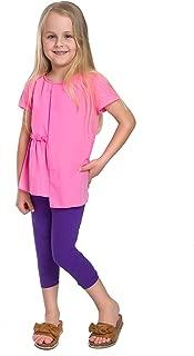 Futuro Fashion Full Length Cotton Girls Leggings Plain Pants for Kids Orange Leggings Age 11