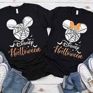 Disney Halloween T-Shirts Matching Vacation Apparel Shirts for Family Men Women Boys Girls Baby Spiderweb Mickey Minnie Ears Orange Black