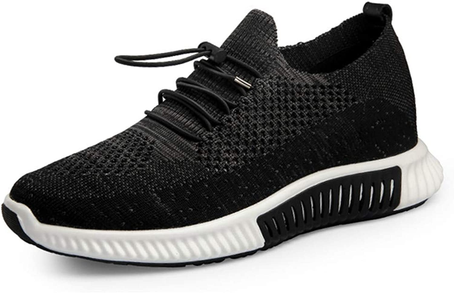 GOG Fashion Flying Woven Hollow Breathable Sport Sneakers Height Increasing Elevator 2.56 inches shoes for Short Men