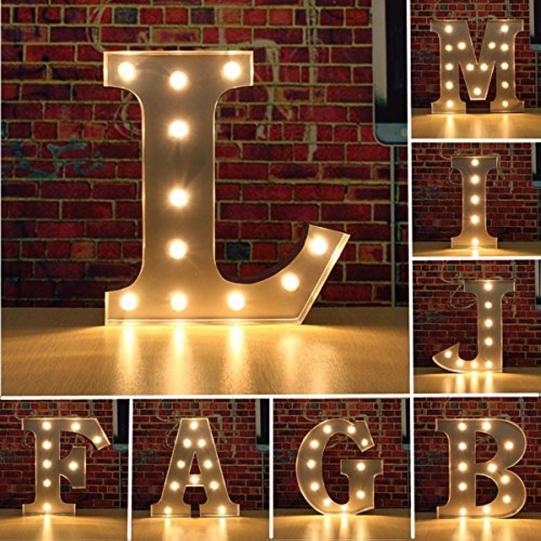 Wuchance Weinlese-Metall-LED-Licht DIY Buchstabe A bis M-Zeichen-Karnevals-Wand-Festzelt-Dekoration (Farbe   Letter L)
