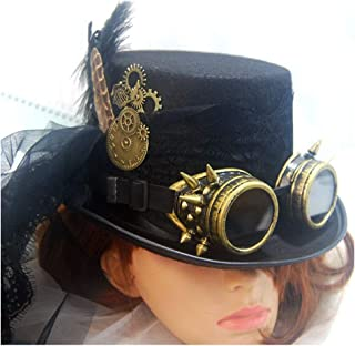 SHENTIANWEI 2019 Men Women Black Steampunk Top Hat with Gear Glasses and Lace Performance Hat Cosplay Hat