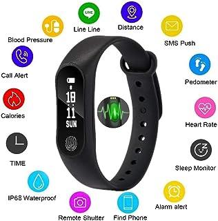 Msxx Brazalete Conectado A Prueba De Agua, Control De Movimiento, Control De Sueño, Control De Presión Arterial, Control De Ritmo Cardíaco, Información Push, Adecuado para iPhone Y Android,Black