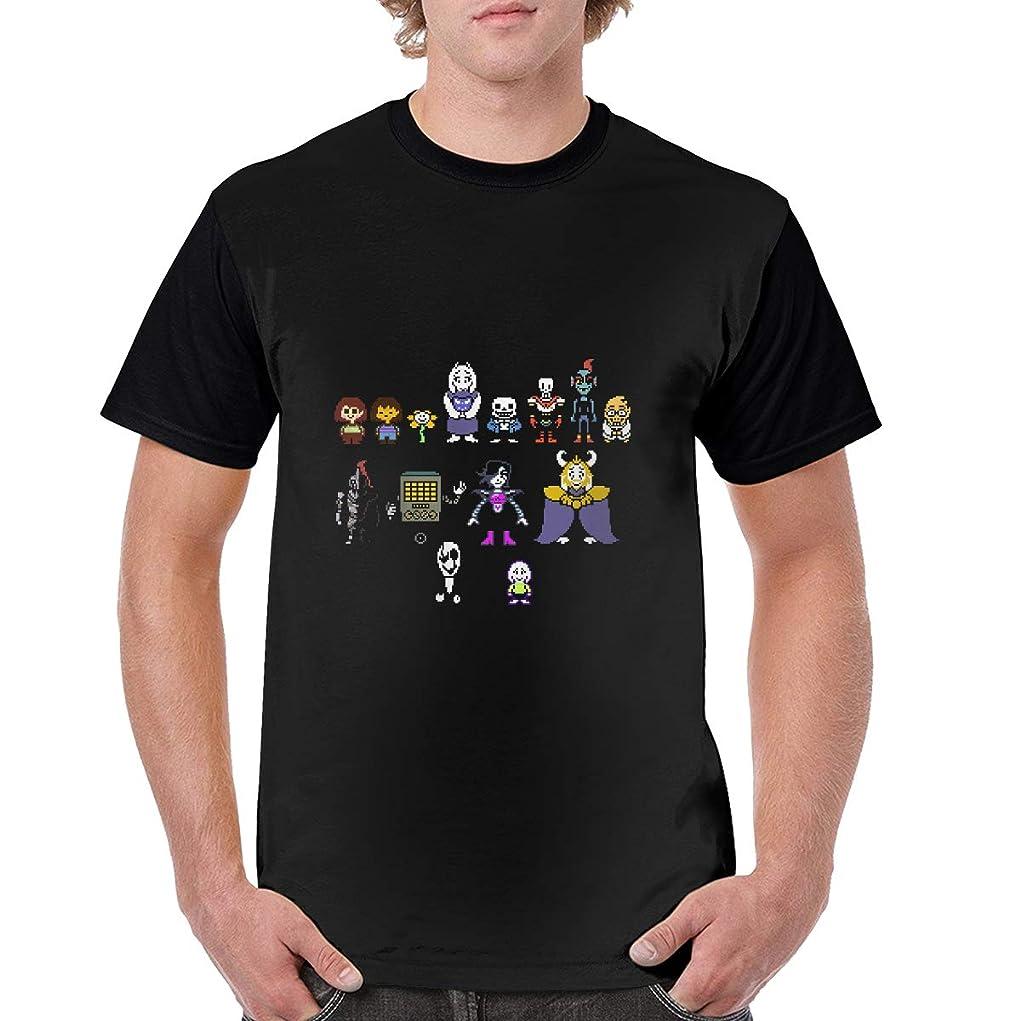 定刻付添人群集Undertale 2 Tシャツ メンズ 半袖 カットソー 軽い 柔らかい 無地 おしゃれ アクティブシャツ インナーシャツ