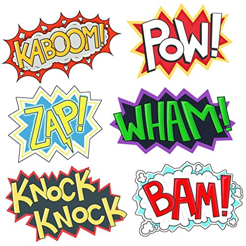 SuperheroParty Cardboard Word Cutouts, 6 Different pcs, Each 16.5 Inches on 11 inches, BAM POW Wham ZAP Kaboom Knock-Knock, Superhero Theme Birthday Supplies